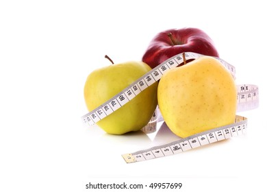 Red, green and yellow apples measured the meter