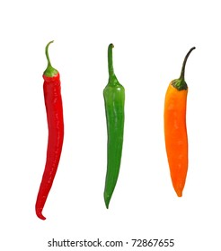 Red, green and yellow chillies isolated on white