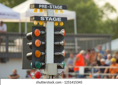 Red green and yellow lights go down the tree to indicate the start of the race