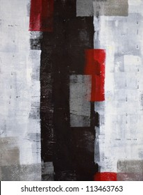 Red and Grey Abstract Art Painting