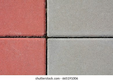 red and grey paving stone texture