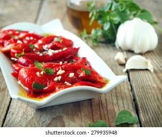 Red grilled pepper on plate