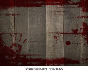 Red Grunge Blood Splash colour on wood background texture, Murder Horror thriller killer mystery concept abstract background