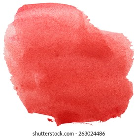red grunge brush strokes watercolor paint isolated on white background
