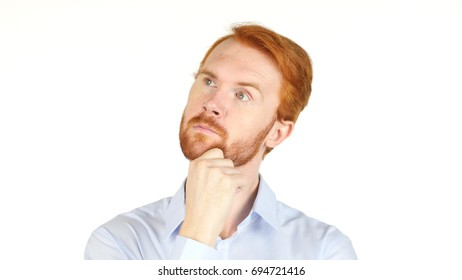Red Hair business man thinking, white background