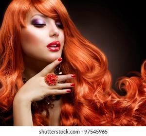 Red Hair. Fashion Girl Portrait