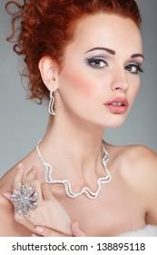 Red hair. Fashion girl portrait.Accessorys.