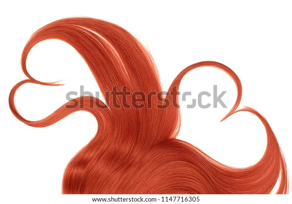 Red hair, isolated over white background