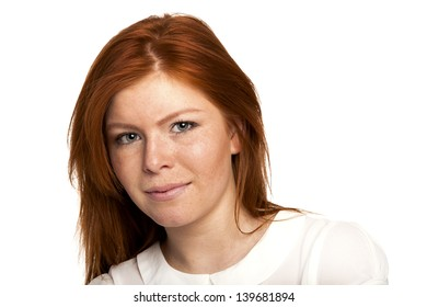 Red Hair Young Girl Smiling