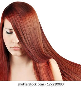 Red Hair.Beautiful Woman with Straight Long Hair over white