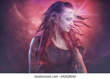 Red haired elven fairy girl experiencing cosmic transcendence