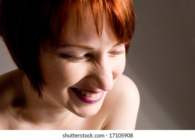 Red haired girl with emotive faces and expressions