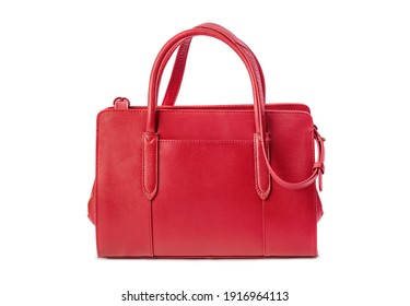 Red hand bag isolated on white background