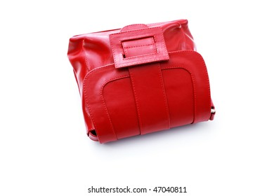 red hand bag on white background