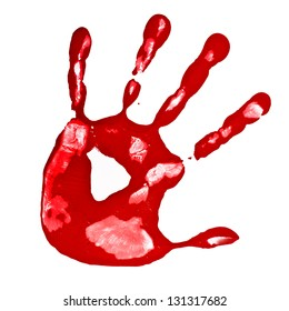 red hand print isolated on a white background
