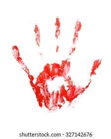 Red hand print, isolated on white background
