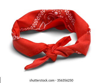 Red Handkerchief Headband Isolated on a White Background.