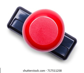 Red Handle Rubber Stamper Top View Isolated on White Background.