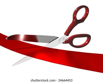 Red handled scissors cutting a red ribbon