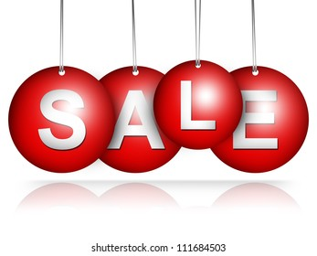 Red Hanged Sale Tag For Special Promotion Campaign Isolate on White Background