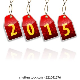 Red hanging tags with the 2015 year digits