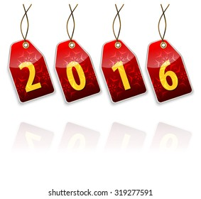 Red hanging tags with the 2016 year digits with full transparent reflection effect.