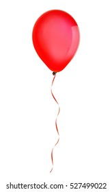 Red happy holiday air flying balloon isolated on white
