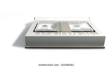 A red hardback book with a cutaway area in the pages concealing a stack of one hundred US dollar bills on an isolated background