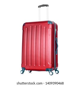 Red Hardside Carry On Spinner Isolated on White Background. Zipperless Hand Luggage Bag. Vip Trolley Bag. Trolley Travel Bag. Spinner Trunk. Wheeled Luggage. Side View Modern Suitcase