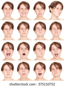 red head adult caucasian woman collection set of face expression like happy, sad, angry, surprise, yawn isolated on white