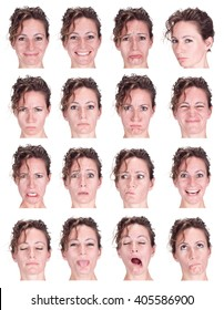 red head curly adult caucasian woman collection set of face expression like happy, sad, angry, surprise, yawn isolated on white
