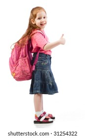 Red head kid student with long hair standing with school backpack on her shoulders