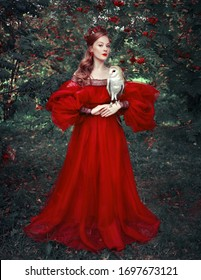 Red head woman in red dress with owl fantasy style