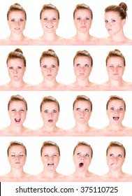 red head young caucasian woman collection set of face expression like happy, sad, angry, surprise, yawn isolated on white