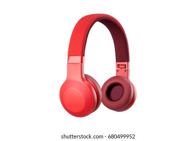 Red headphone isolate on white background.