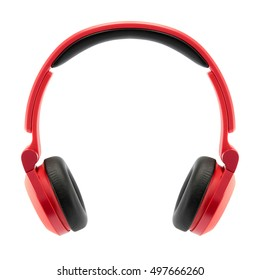 red headphone on white back ground, isolate