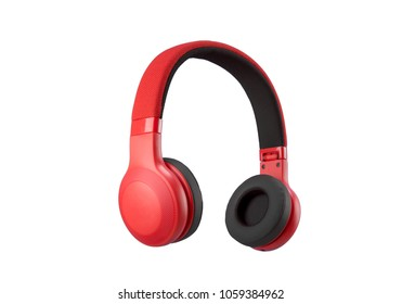 Red headphone on white background.