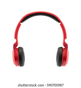 red headphone on white background, isolated