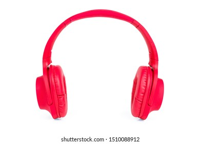 Red headphone on white background.Headphones isolated on a white background with clipping path