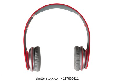 Red Headphones. Isolated