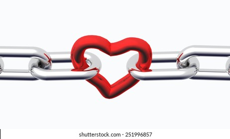 red heart among chain - love - valentines day