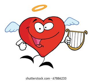 Red Heart Angel Character Flying With A Lyre