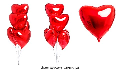 Red heart balloons isolated. Red balloons isolated on white background. Valentine's day.