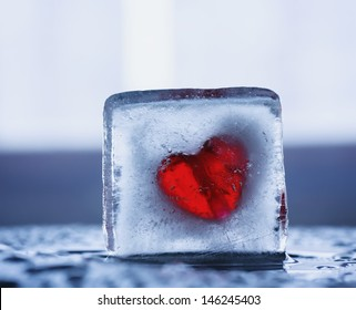 red heart in a block of ice, closeup