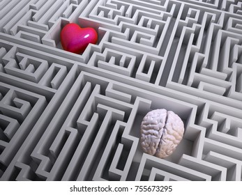 red heart and brain into the labyrinth maze, 3d illustration
