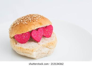 Red heart in bread