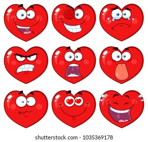 Red Heart Cartoon Emoji Face Character 1. Raster Collection Isolated On White Background