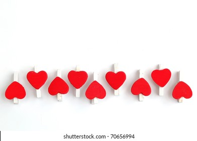 Red heart clip, isolated on white background