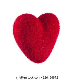 Red heart close-up on a white background