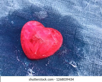 Red heart in cold day with copy space